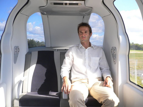 Thomas Frey Futurist Speaker  Inside the driverless Personal Rapid Transport vehicle at Heathrow Airport