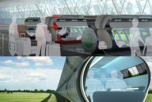 Thomas Frey Futurist Speaker Illustrations of riding in ET3 capsules at 4,000 mph