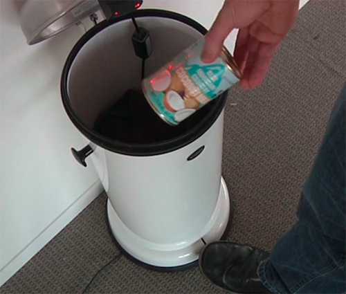 Thomas Frey Futurist speaker the Amazon Trash Can is a smart device that scans and reorders discarded products