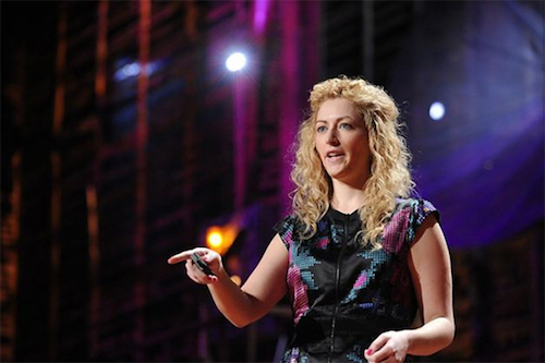 Thomas Frey Futurist Speaker Jane McGonigal delivering her talk at TED