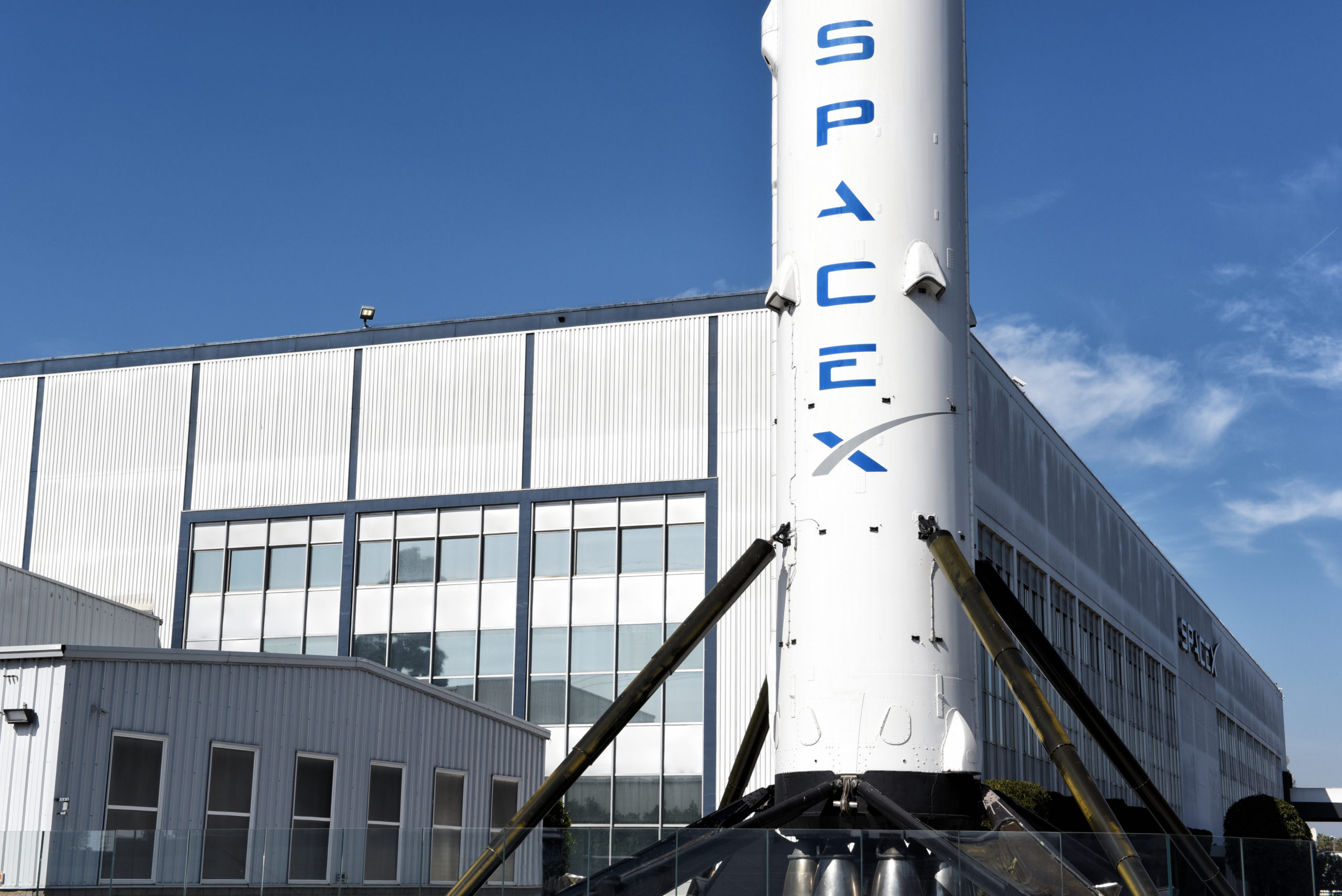HAWTHORNE, CALIFORNIA – 17 FEB 2020: Closeup of a Falcon 9 Booster rocket at Space Exploration Technologies Corp, trading as SpaceX, a private American aerospace company.